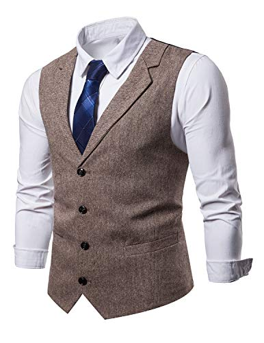 STTLZMC Mens Casual Dress Vests 4 Button Tailored Collar Tweed Suit Waistcoat,Khaki,X-Large by STTLZMC (Image #2)
