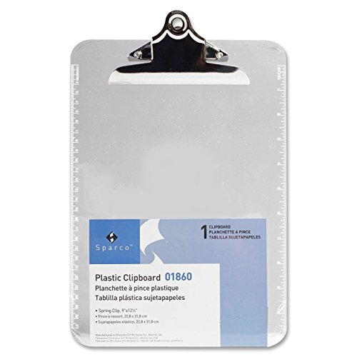 Sparco Transparent Plastic Clipboard, 9 x 12-1/2 Inches, Clear (SPR01860), 2 Packs by Sparco
