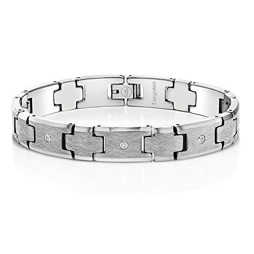 - Gem Stone King Men's Diamond Cross Satin Finish Tungsten Bracelet with 3 Round Brilliant Diamonds
