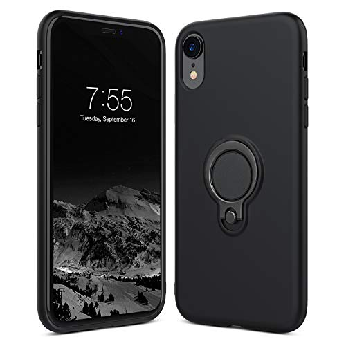 GLOUE iPhone XR Case Compatible with Ring Clip Holder TPU Cover iPhone Case, Anti-Scratch Shock-Absorbing, Carbon Fiber Design Cushion Rubber Cover for iPhone XR 6.1 inch 2018 - Black