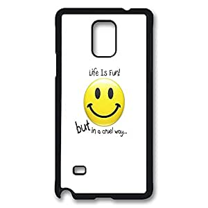 VUTTOO Rugged Samsung Galaxy Note 4 Case, Life is Fun Smiley Polycarbonate Plastic Case Back Cover for Samsung Galaxy Note 4 N9100 PC Black