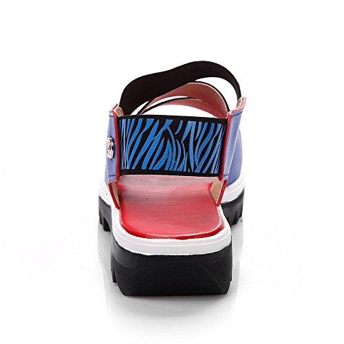 Allhqfashion Kvinners Åpen Tå Lave Hæler Mykt Materiale Assorterte Farger Elastiske Sandaler Blå