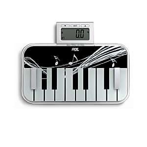ADE BA 1007 Yvonne - Báscula de análisis corporal, diseño de piano en blanco y negro