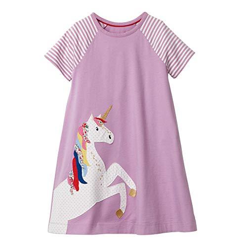 HILEELANG Girls Cotton Short Sleeve Casual Cartoon Appliques Lavender Jersey Dresses -