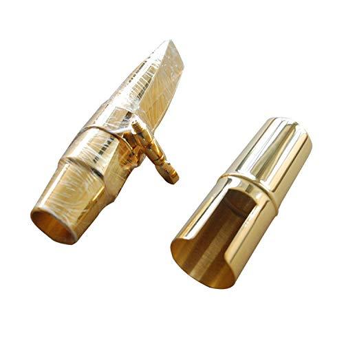 Aliyes 3D Series Premium Jazz Alto Saxophone Metal Mouthpiece with Gold Lacquered Ligature Metal Cap-KLZD6
