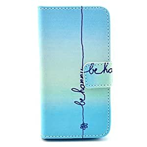 PEACH Be Happy Pattern PU Leather Full Body Case with Stand for iPhone 4/4S