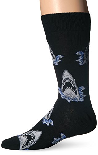 Socksmith Mens Novelty Crew Socks Shark Attack - Black