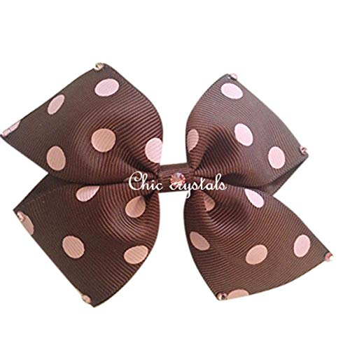 Bow Hair Clip with Swarovski Crystals (brown/pink polkadot)