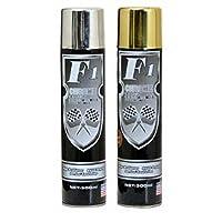 Set of 2pc F1 Gold & Silver Chrome Paint Aerosol Spray