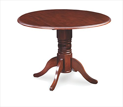 Trithi Furniture Dunes Drop-Leaf Dining Round Table Esso Brown Finish