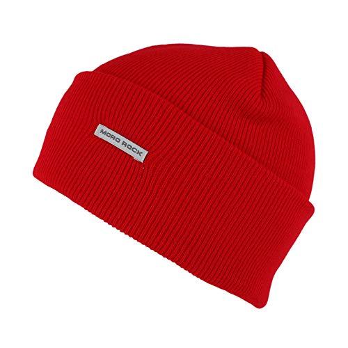 - Mororock Beanie Hat Acrylic Knit Cuffed Beanie Cap (Red)