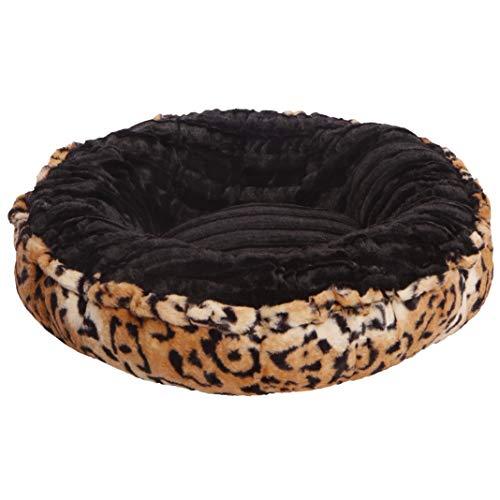 BESSIE AND BARNIE Black Puma/ Chepard Luxury Ultra Plush Faux Fur Bagelette Pet/Dog Bed (Multiple Sizes), M- 36″