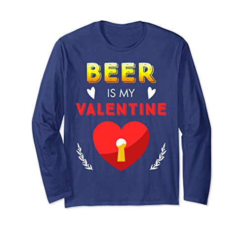 Unisex Funny Valentines Day Shirt Beer Is My Valentine Love Heart Small Navy