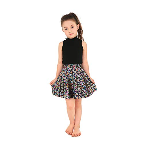 Yiwbeij Multicoloured Mermaid Fish Scales Halloween Party Skirts for Junior Girls L]()