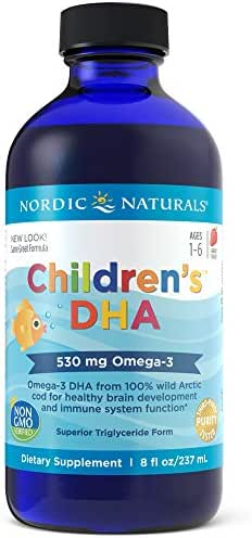 Nordic Naturals Children's DHA Liquid - Omega-3 DHA Fish Oil Supplement for Kids, Supports Heart Health and Brain Development for Children During Critical Years*, Strawberry, 8 oz.