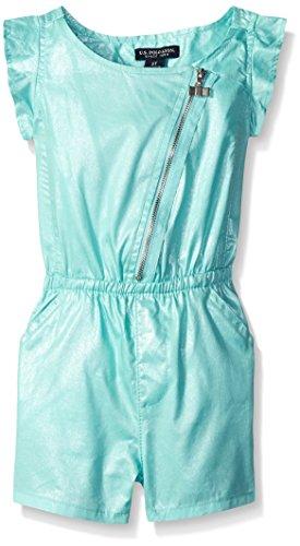 UPC 889593043270, U.S. Polo Assn. Little Girls' Toddler Asymmetrical Zip Front Romper, Mint, 3T