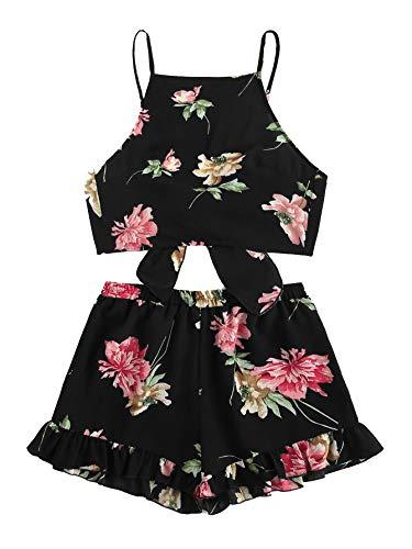 SweatyRocks Women's 2 Piece Boho Floral Print Crop Cami Top with Shorts Set (X-Large, Black#6)