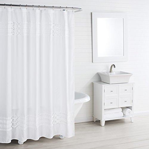 Triple Diamond Shower Curtain White - City Scene