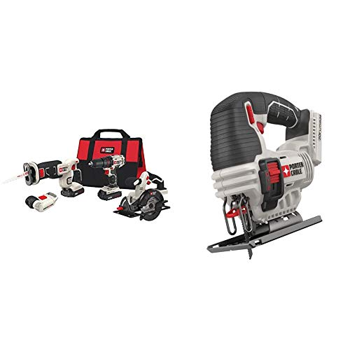 PORTER-CABLE Cordless Drill Combo Kit Power Tool, 4-Tool (PCCK616L4) & 20V MAX Jig Saw, Tool Only (PCC650B)