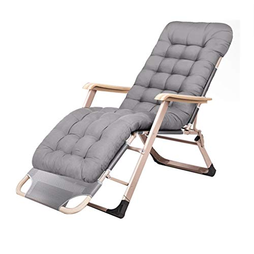 Folding Recliners Folding Lazy Recliner Lounger Reclining Casual Sloping Chair Portable Adult Beach Balcony Garden Bedroom Weight 200 Kg Gray and Black ()