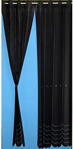 Length adjustmentable Noren Japanese curtain Black and Blue Accordion noren from Japan 10252