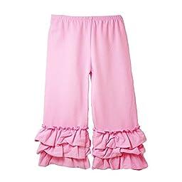 Baby Girls Pink Triple Tier Ruffle Cuffed Cotton Spandex Pants 12M