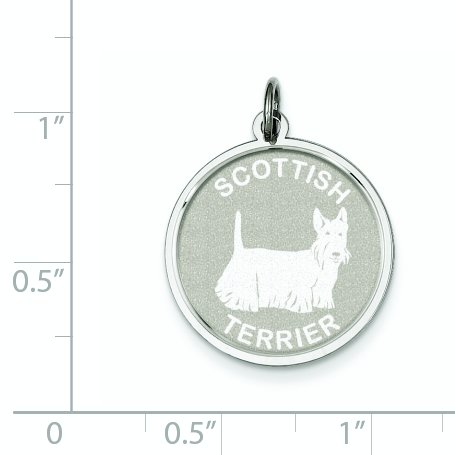 Sterling Silver Engravable Scottish Terrier Disc Charm (1IN long x 0.7IN wide)