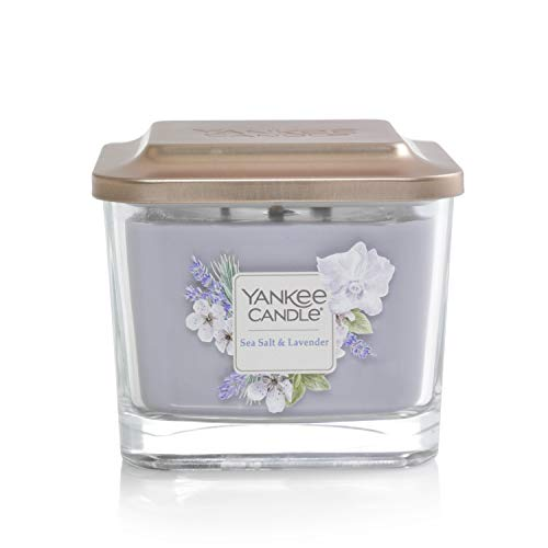 Yankee Candle Elevation Collection with Platform Lid Sea Salt & Lavender Scented Candle, Medium 3-Wick, 38 Hour Burn Time