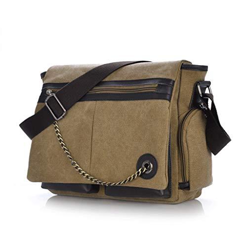 Brown Student Canvas Bag Shoulder Messenger Men's Casual YOvBwq