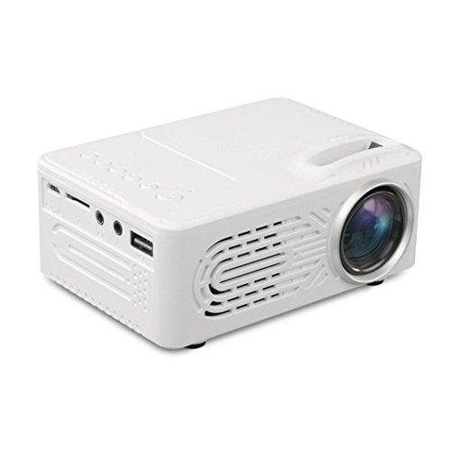 Full HD Mini 7000 Lumens Projector 3D 1080P LED Multimedia for Home Theater AV USB (White)
