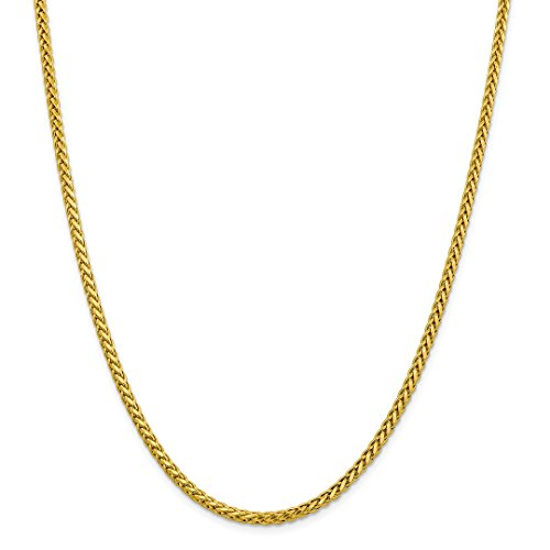 ICE CARATS 14kt Yellow Gold 3.10mm Link Wheat Chain Necklace 22 Inch Pendant Charm Spiga Oval Fine Jewelry Ideal Gifts For Women Gift Set From (Oval Wheat Link)