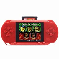 Livoty Playstation Kids Handheld Game Console Portable Gaming System 16 Bit Classic Game Console LCD Game Player (Red)