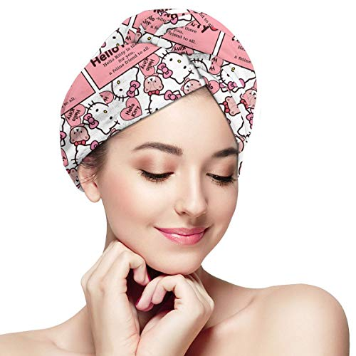 Super Absorbent Dry Hair Hat- Hello Kitty Hair Towel Wrap Turban Microfiber Drying Bath Shower Head Towel With Buttons,Quick Magic Dryer
