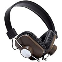 Eskuche Control v2 BRN On-Ear Headphone with Apple 3 Button Mic, Brown