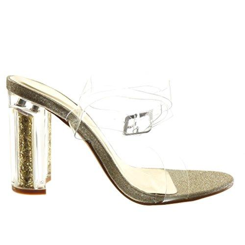 Angkorly - Scarpe da Moda sandali sexy donna trasparente paillette tanga Tacco a blocco tacco alto 10 CM - Oro
