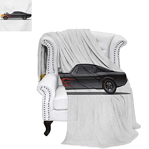 Cars Summer Quilt Comforter Custom Design Muscle Car with Supercharger and Flames Roadster Retro Styled Digital Printing Blanket 60