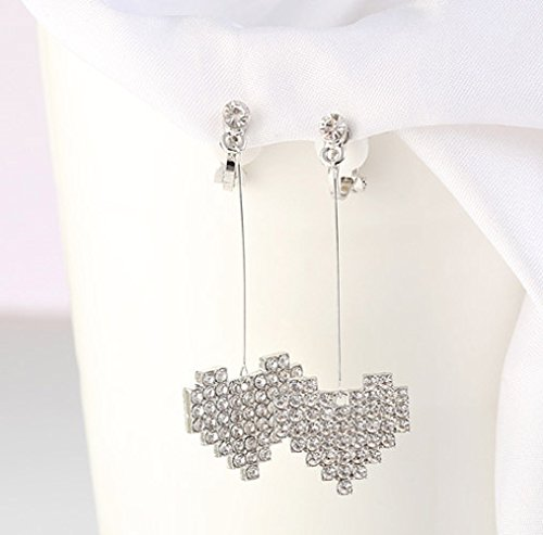 Dangle Earring Clip on Backs with Pads Rhinestone Heart for Women Girls Kids Jewelry Gift Box Shows
