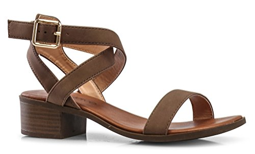 - LUSTHAVE Women's Front Strap Ankle Wrap Adjustable Buckle Stacked Chunky Heel Gladiator Summer Dress Sandal Brown 7