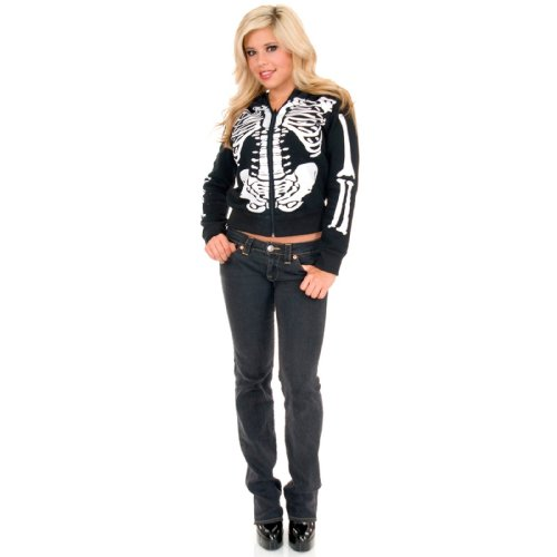 Charades Costumes 157502 Skeleton Hoodie - Female - Adult Costume - Black - (Punk Skater Halloween Costume)
