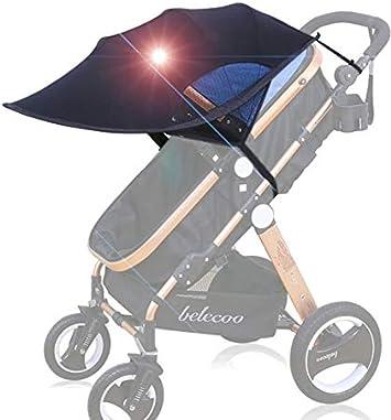 FREESOO Toldo Protector Solar Universal para Cochecitos Capazos Carrito de Bebé Sillas de Paseo Sombrilla Parasol Protección UV contra el Viento a Prueba de Lluvia con Malla Transpirable Negro