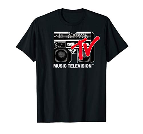 Mtv Boombox - MTV Logo Red Boombox Graphic T-Shirt
