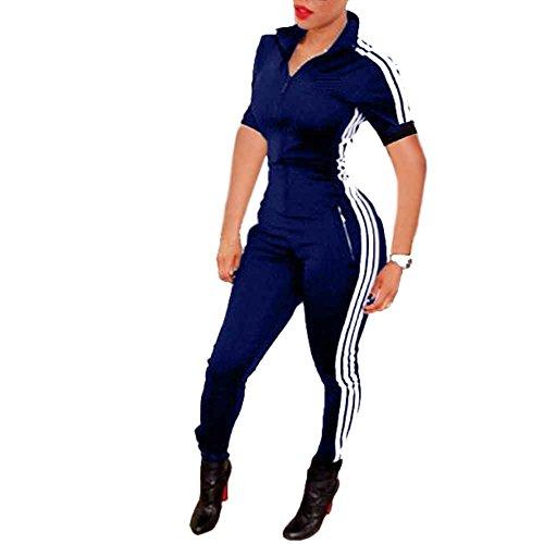 Bodycon4U Women Lycra Spandex Zentai Long Sleeve Unitard Bodysuit Jumpsuit (2XL, Shortsleeve-Blue) - Long Sleeve Short Sleeve Bodysuit