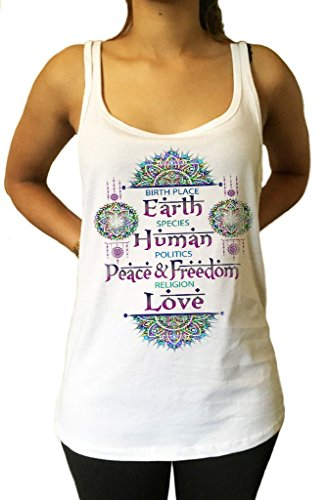 Mujeres Tank Top Birth Place Tierra, Especie Humana, Política Peace & Freedom, Religion Love Print JTK888