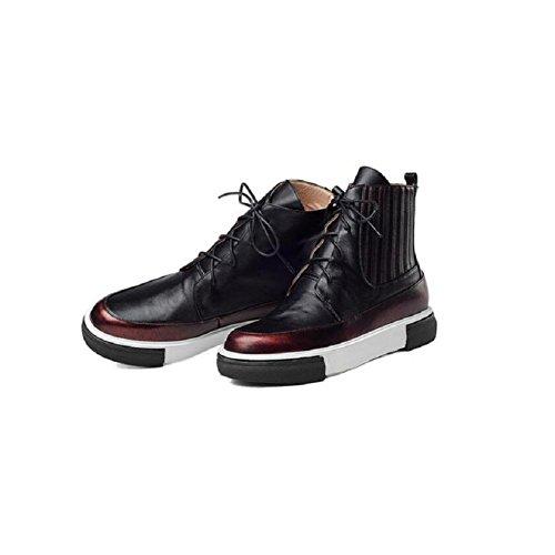 Bootie in la stivali 38 Wind pelle Martin aumenta Flat stivali 37 scarpe donna red campagna Scuola piattaforma Casual RED gfx0qtv