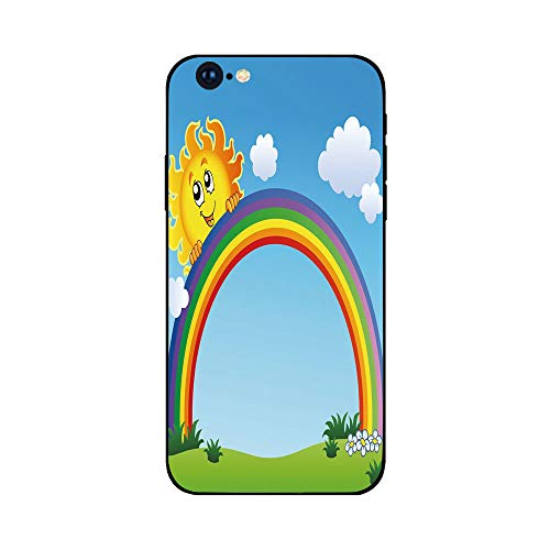 Phone Case Compatible with iphone6 Plus iphone6s Plus MobilePhoneProtectingShell BrandNew Tempered Glass Backplane,Rainbow,Fun Sun Holding Rainbow on Green Hill with Clear Sky Child Friendly Image