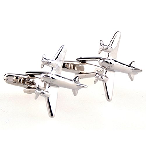 Airliner Plane (MRCUFF Airplane Jet Plane Commercial Airliner Pilot Pair Cufflinks in a Presentation Gift Box & Polishing Cloth)