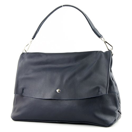 femme sac Italy de nappa cuir Sac bandoulière à sac sac modamoda IT40 Dunkelblau sac cuir à Made italien main in XYF4w