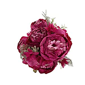 EZFLOWERY 1 Pack Artificial Peony Silk Flowers Arrangement Bouquet for Wedding Centerpiece Room Party Home Decoration, Elegant Vintage, Perfect for Spring, Summer and Occasions (1, Hot Pink) 80