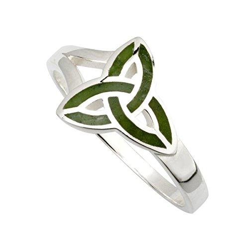 Trinity Knot Ring Sterling Silver & Connemara Marble Irish Made Sz 8