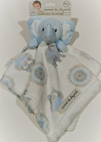 Elephant Baby Boy Blue and White Tapestry Security Blanket